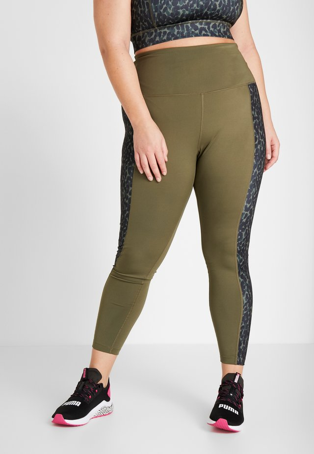 HIGH WAIST ANIMAL PRINT PANEL LEGGINGS CURVE - Leggings - khaki