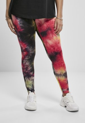 TIE DYE HIGH WAIST  - Leggingsit - darkpink/black