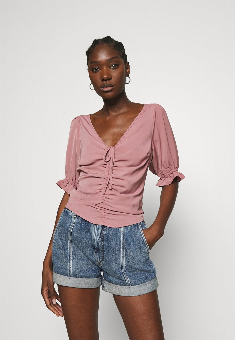 Abercrombie & Fitch - CINCH FRONT PUFF - Blus - rose