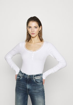 BUTTON THRU HENLEY - Topper langermet - white