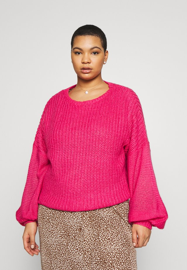 EXCLUSIVE BALLOON SLEEVE DROP SHOULDER JUMPER - Pullover - pink