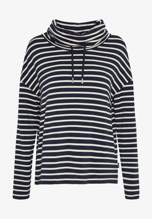 TUBE NECK STRIPED RELAX FIT DRAWSTRING DETAIL - Top s dlouhým rukávem - dark blue/white