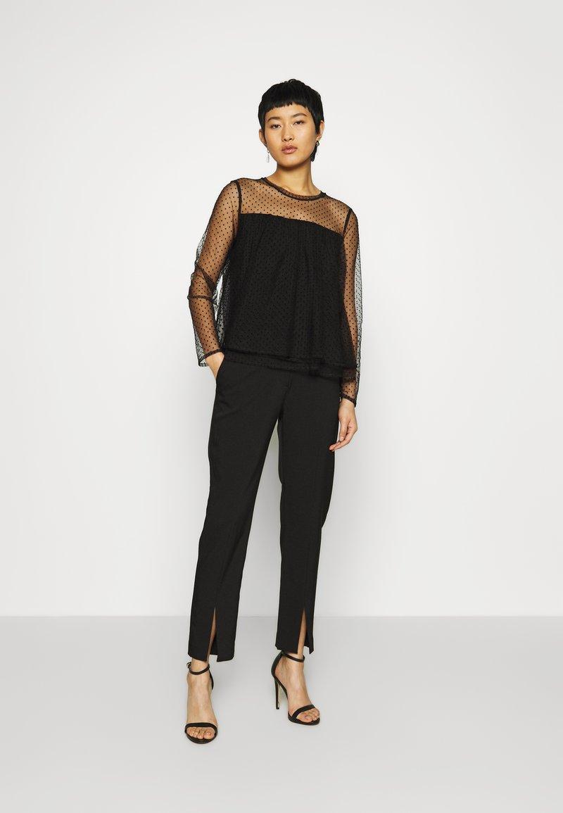 Banana Republic - DOUBLE LAYER DOT BLOUSE - Long sleeved top - black