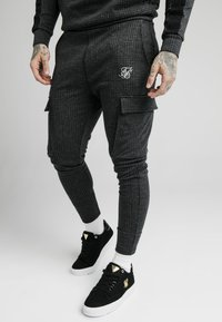 SIKSILK - TONAL CHECK CARGO PANT - Cargobroek - grey - 0