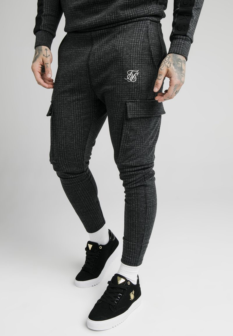 SIKSILK - TONAL CHECK CARGO PANT - Cargobroek - grey