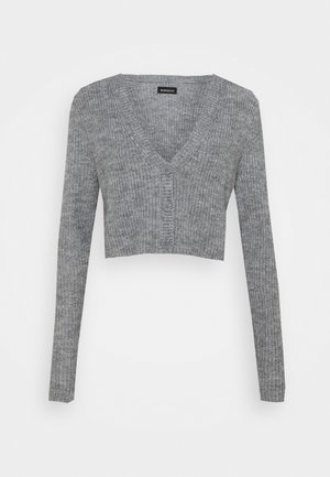 CROPPED RIBBED CARDIGAN - Chaqueta de punto - mottled grey