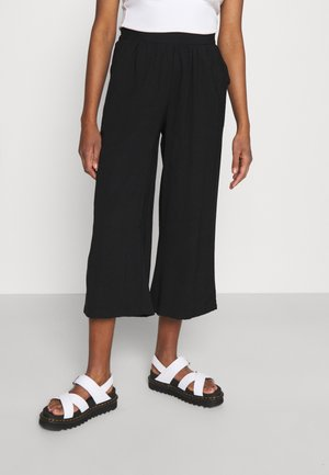 Cropped wide leg trouser - Trousers - black