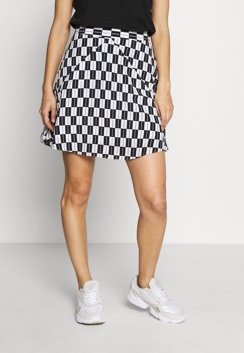 Calvin Klein Jeans - CHECKER BOARD SKIRT - A-line skirt - black/white