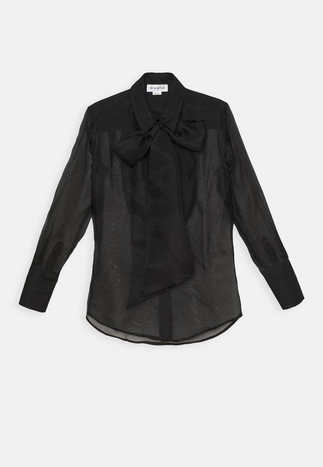 RUFFLE TIE BLOUSE - Camicia - black