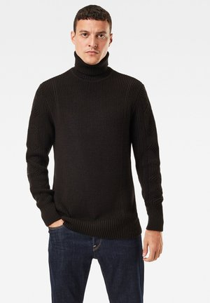 CONSTRUCTED WOOLEN TURTLE LONG SLEEVE - Jumper - dk black