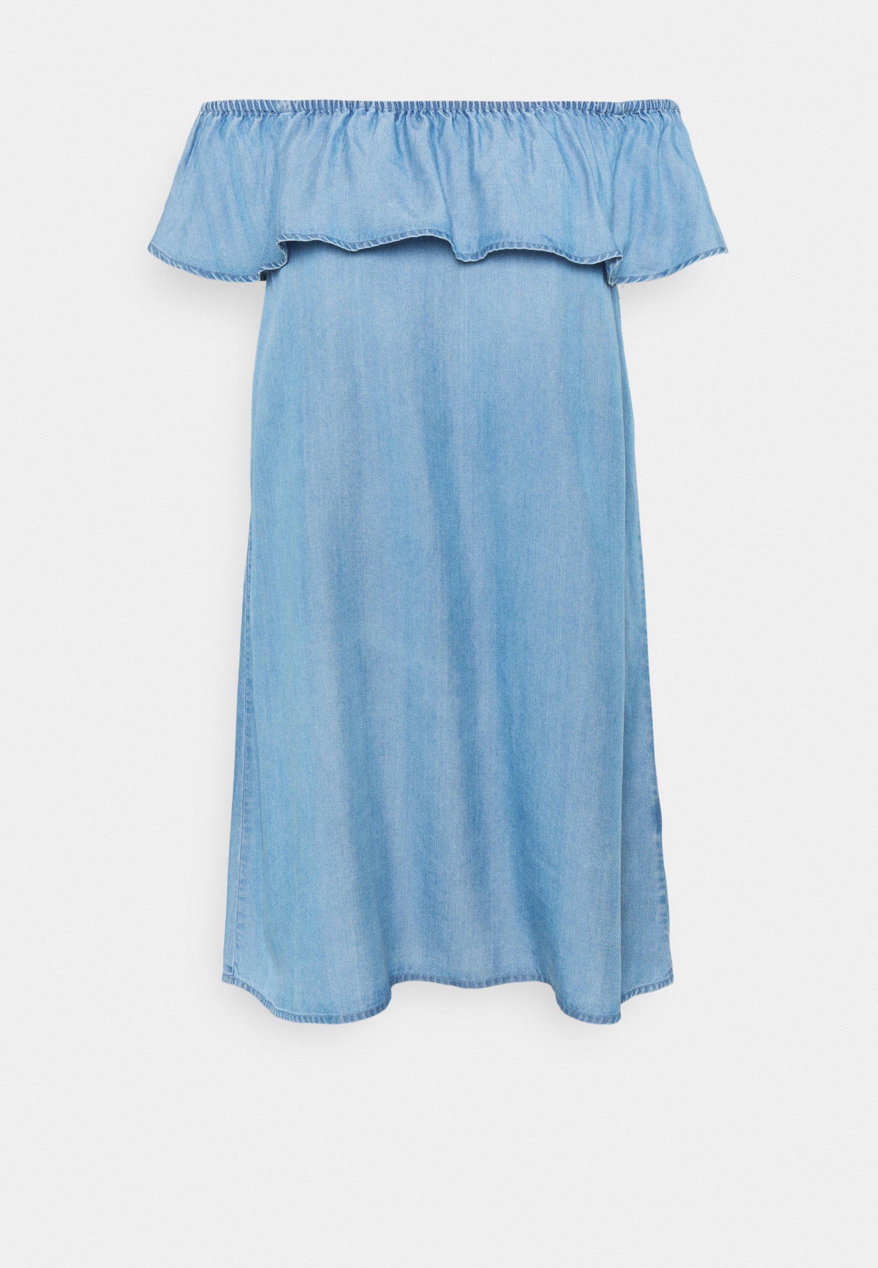 Women VMMIA FLOUNCE SUMMER DRESS  - Denim dress