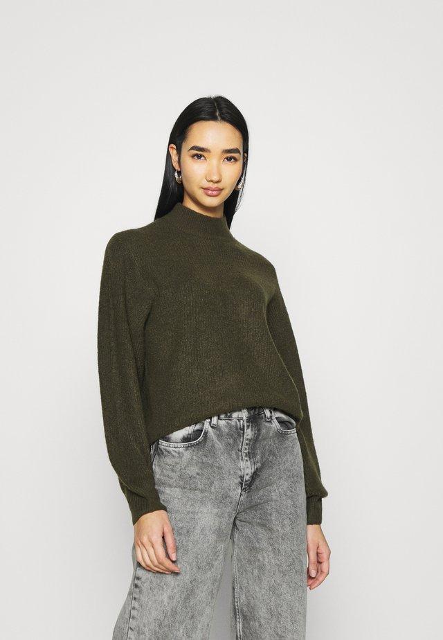 STAND NECK BALOON SLEEVES - Pullover - dark khaki