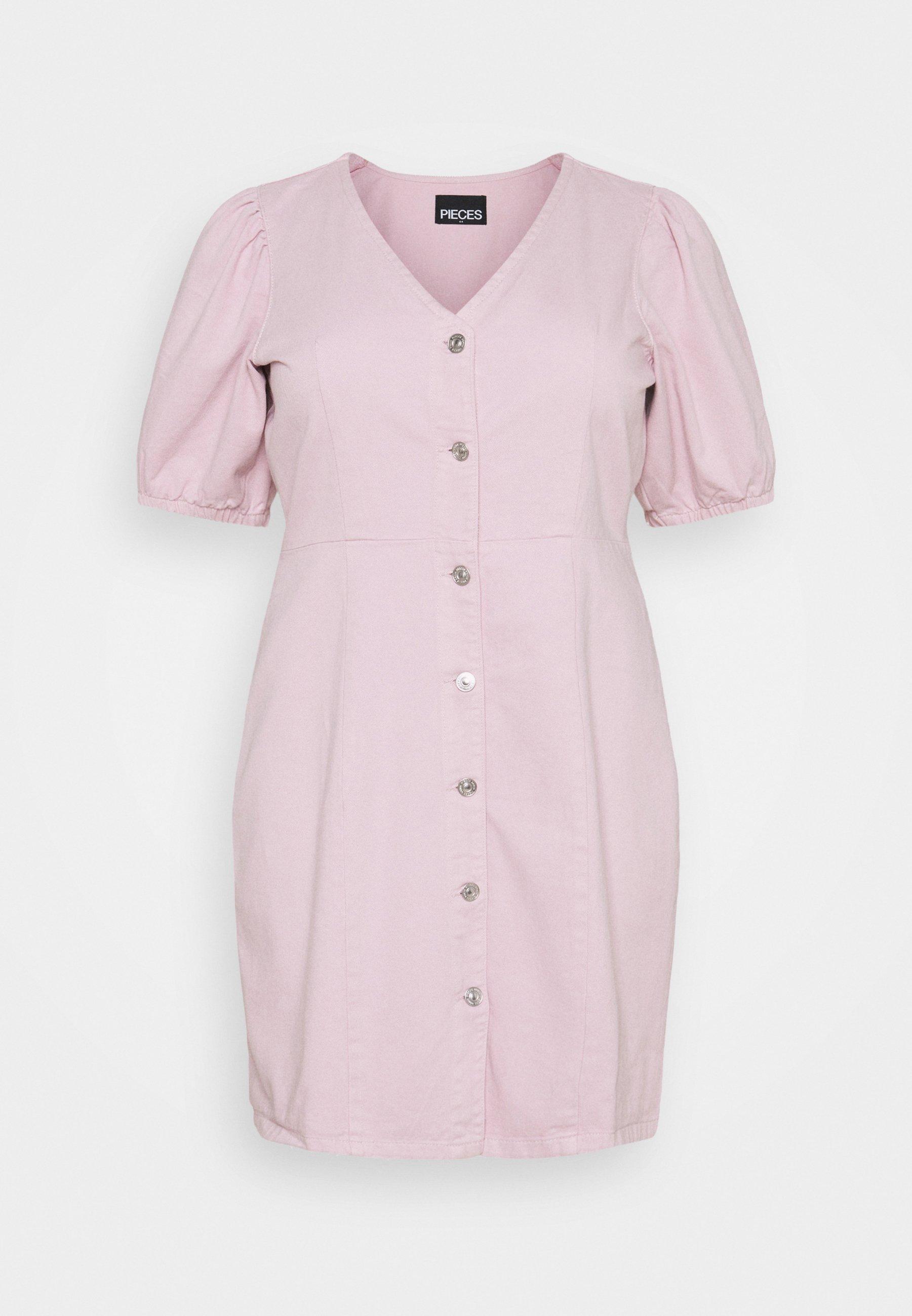 Femme PCGILI V NECK COLOUR DRESS  - Robe en jean