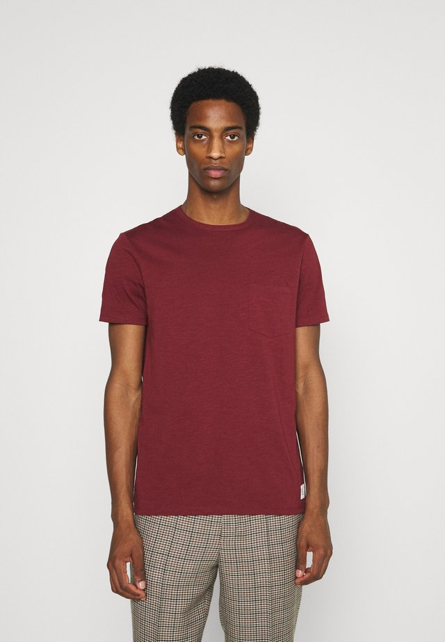 SHORT SLEEVE NECK BINDING - Camiseta básica - grape red