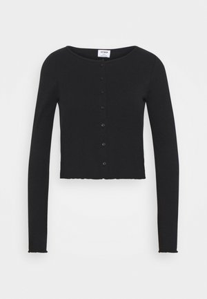 CORI CROP BUTTON THROUGH - Cardigan - black