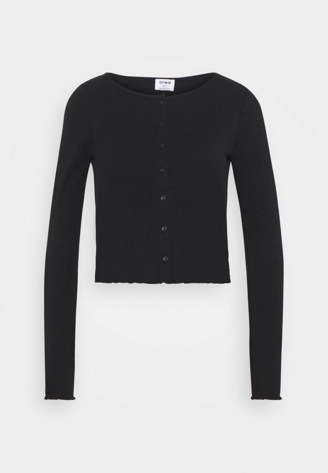 CORI CROP BUTTON THROUGH - Neuletakki - black