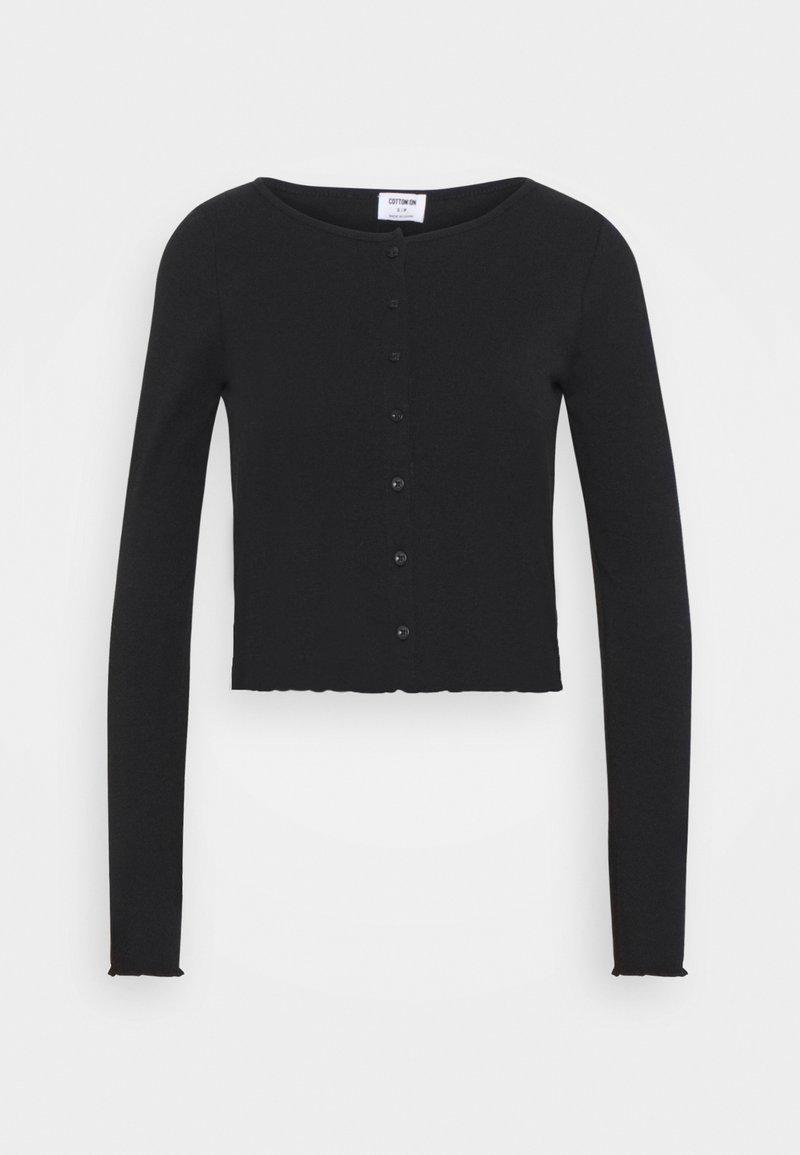 Cotton On - CORI CROP BUTTON THROUGH - Cardigan - black