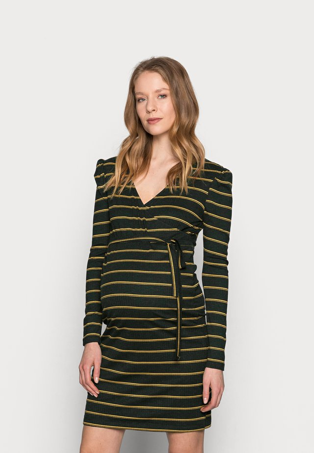 NURSING DRESS - Jersey dress - dark grey melange/autumn blaze