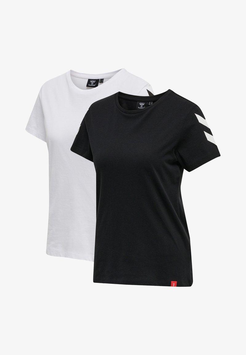 Hummel - 2 PACK - Print T-shirt - black/white