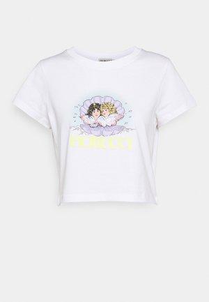 VENUS ANGELS CROP TEE - T-shirt z nadrukiem - white