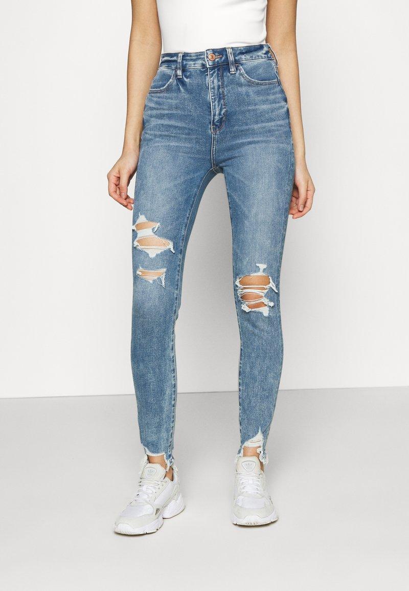 American Eagle - HIGHEST RISE CROP DREAM - Jeans Skinny Fit - blue street