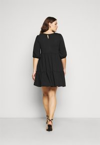 New Look Curves - TIER LOOPBACK SMOCK - Jersey dress - black - 2