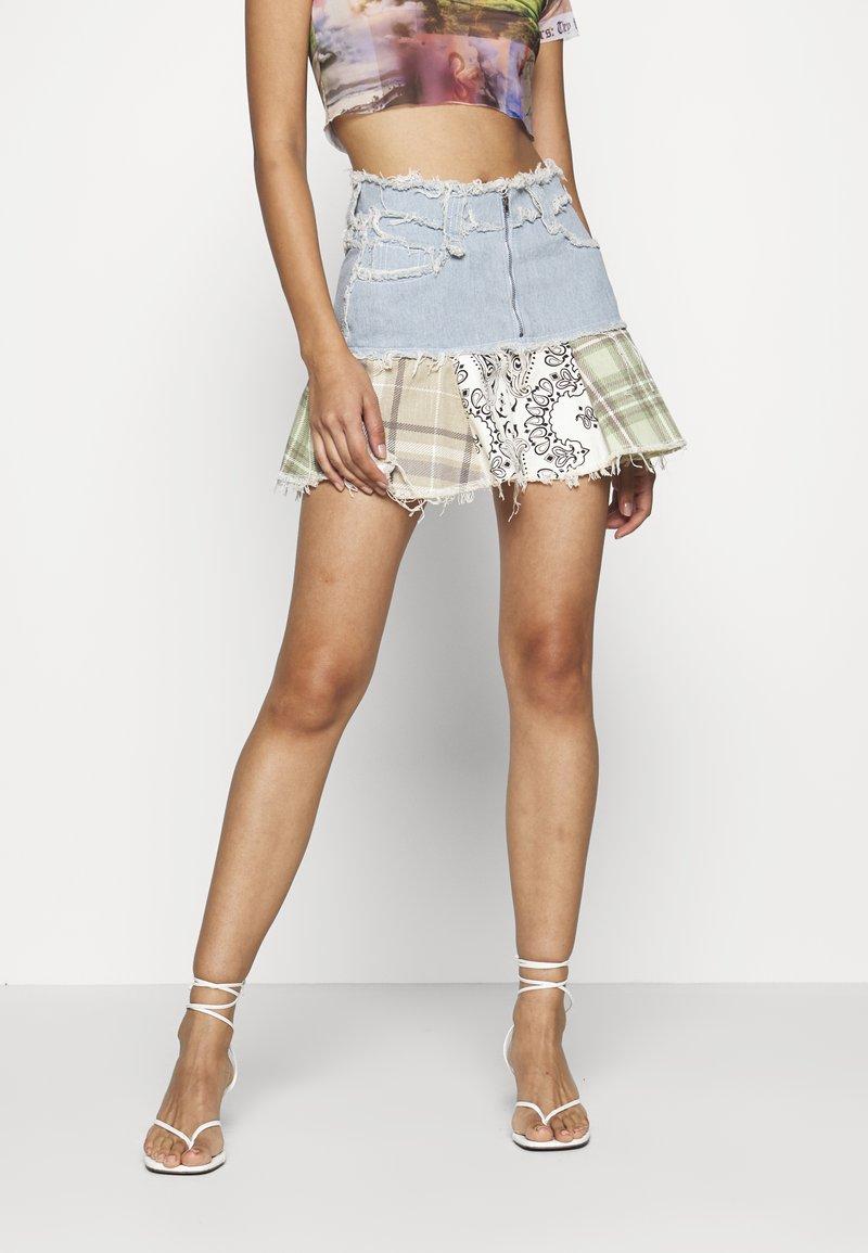 Jaded London - CHECK MIX PEPLUM SKIRT - Minifalda - multi coloured
