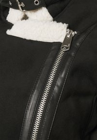 ONLY - ONLDIANA BONDED AVIATOR JACKET - Faux leather jacket - black/white - 7