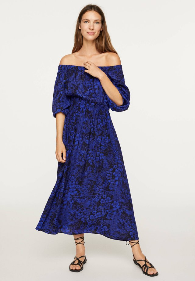 OFF-THE-SHOULDER TWO-TONE DRESS 31998115 - Day dress - blue