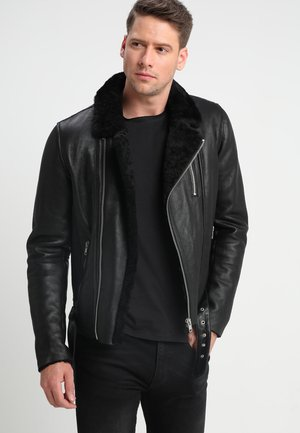 ROCKER DOUBLE FACE - Leather jacket - black