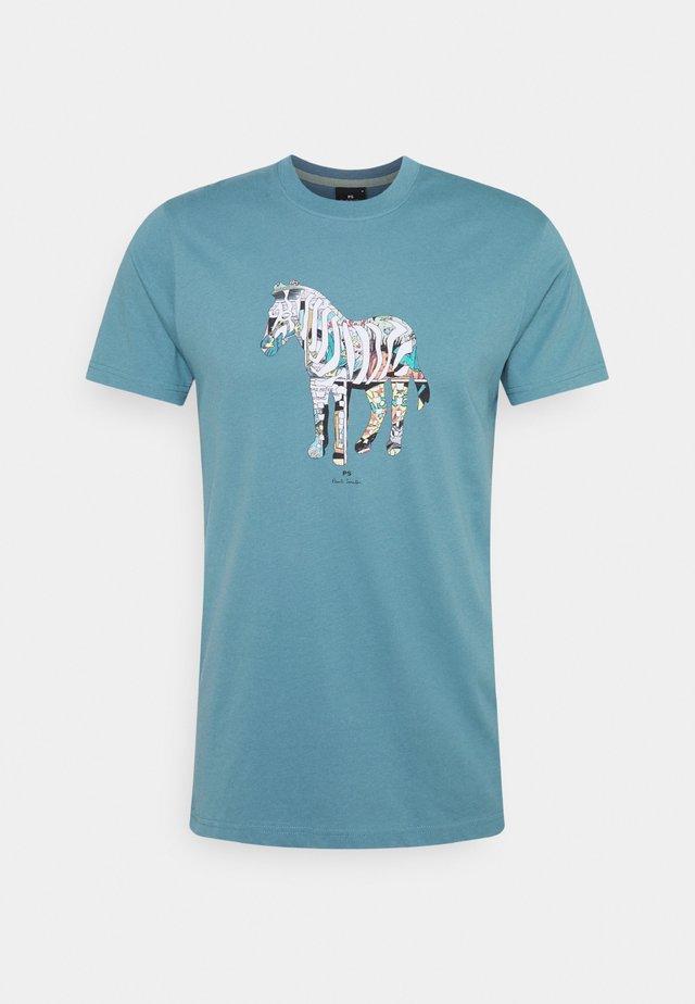 SLIM FIT ZEBRA UNISEX - T-shirt con stampa - teal