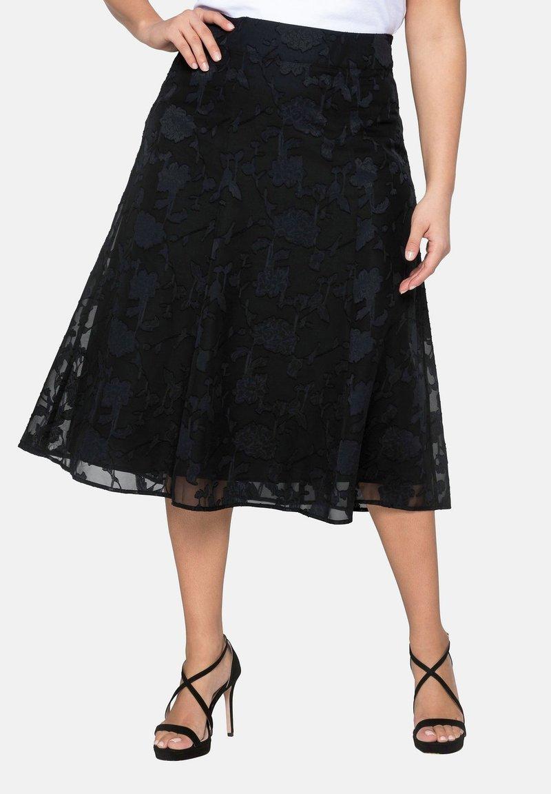 Sheego - A-line skirt - black