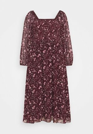 SQUARE NECK SMOCKED MIDI DRESS - Day dress - burgundy paisley floral