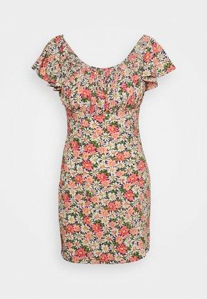 FLORAL RUCHED BUST MINI DRESS - Denní šaty - multi