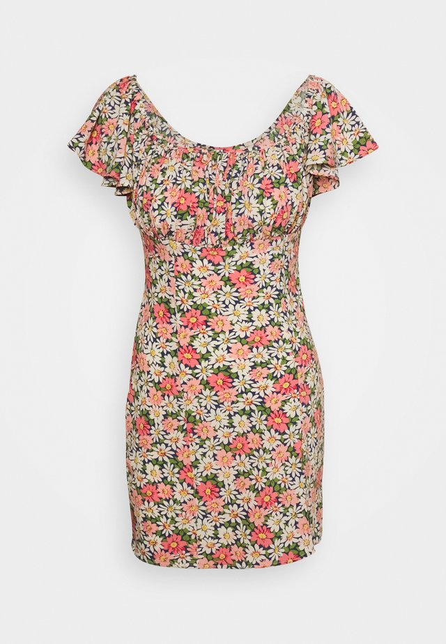 FLORAL RUCHED BUST MINI DRESS - Vestido informal - multi