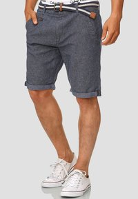 INDICODE JEANS - CASUAL FIT - Shorts - mottled blue - 0