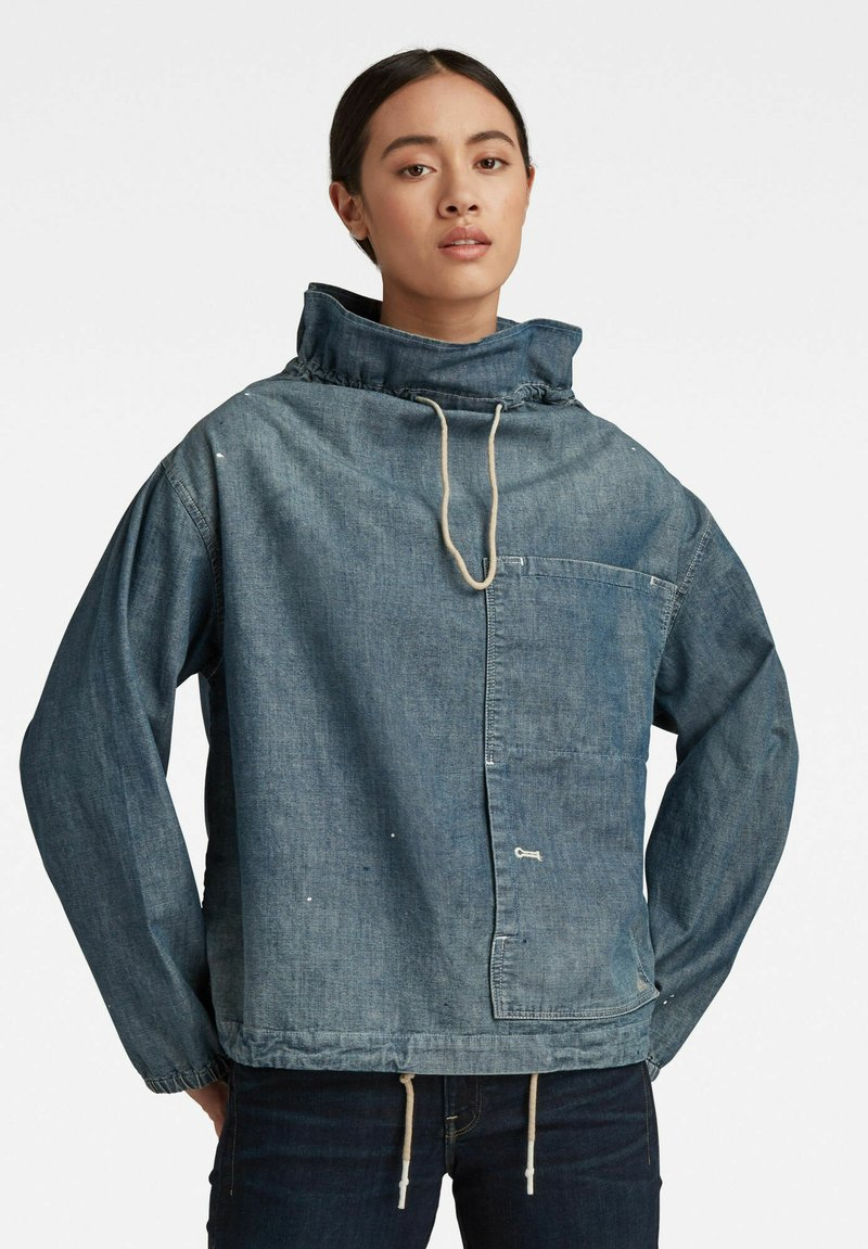 G-Star - LONG SLEEVE MOCK NECK  - Summer jacket - antic faded aegean blue painted