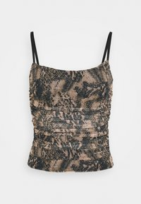 Missguided - RUCHED SIDE CAMI SNAKE PRINT - Topper - brown - 0
