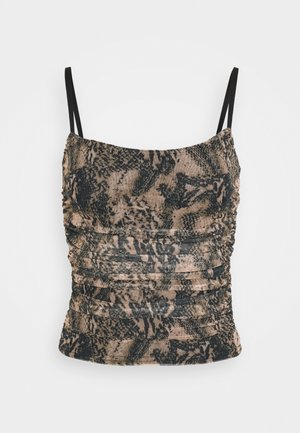 RUCHED SIDE CAMI SNAKE PRINT - Top - brown