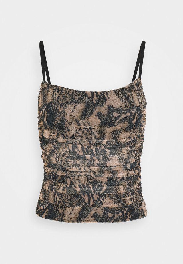 RUCHED SIDE CAMI SNAKE PRINT - Linne - brown