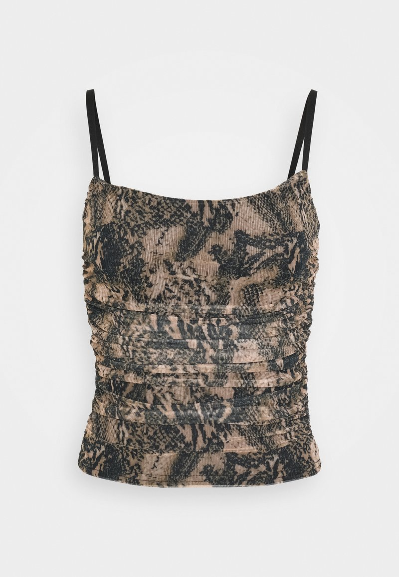 Missguided - RUCHED SIDE CAMI SNAKE PRINT - Topper - brown