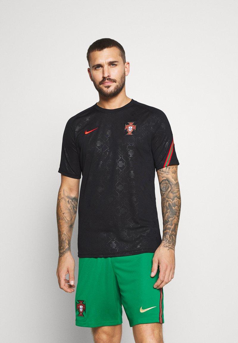 Nike Performance - PORTUGAL  - Print T-shirt - black/challenge red