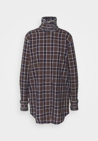 Victoria Beckham - RUFFLE - Button-down blouse - brown/navy - 6