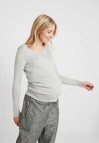 Dorothy Perkins Maternity - V NECK BUTTON CUFF - Långärmad tröja - grey - 0