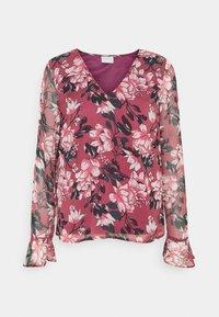 Vila - VIFALIA V-NECK BLOUSE - Camicetta - pink rose flower - 4