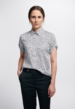 Button-down blouse - weiss/braun