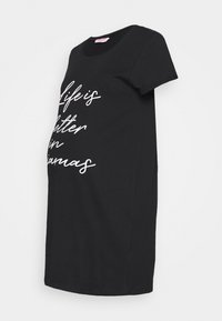 Hunkemöller - NIGHTIE NECK LIFE IS BETTER - Nattskjorte - black - 0