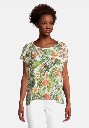 Print T-shirt - khaki/white