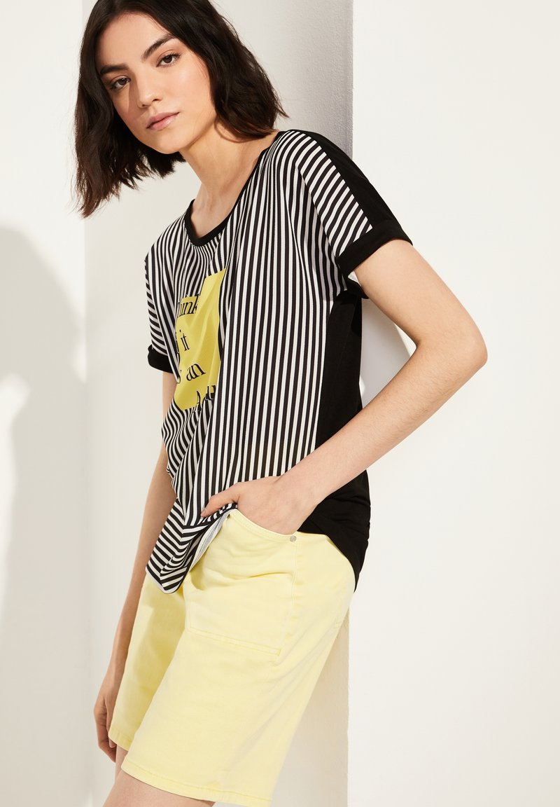 comma casual identity - Blouse - black stripes placed wording
