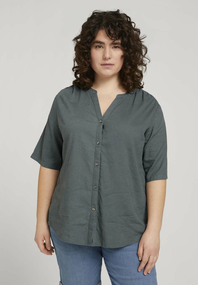 MY TRUE ME TOM TAILOR - BLOUSE WITH OPEN COLLAR - Basic T-shirt - washed jasper green
